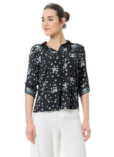 Dewberry Desenli Gömlek Siyah